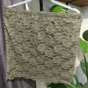 Olive green short lace skirt